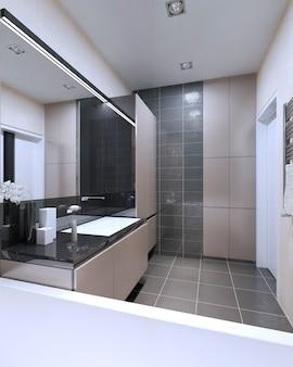 Ideia de banheiro com paredes mistas