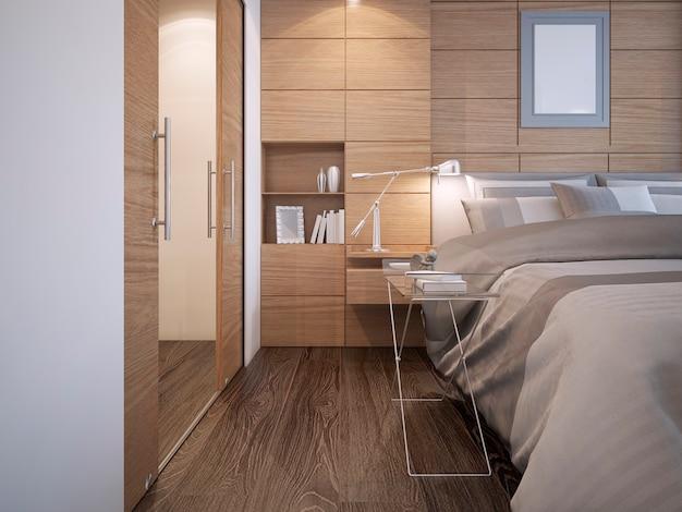 Idéia de closet minimalista com paredes brancas e piso de madeira escura