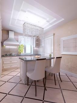 Idéia de cozinha bem iluminada com balcão em estilo art déco