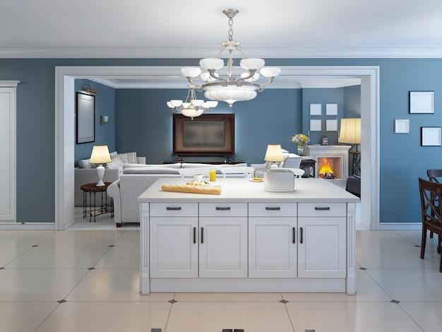 Idéia de cozinha interna aberta com balcão.