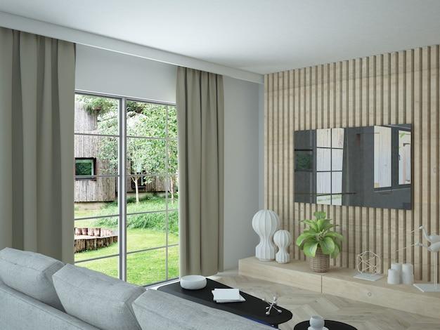 Ideia de design de interiores de sala de estar Foto Premium