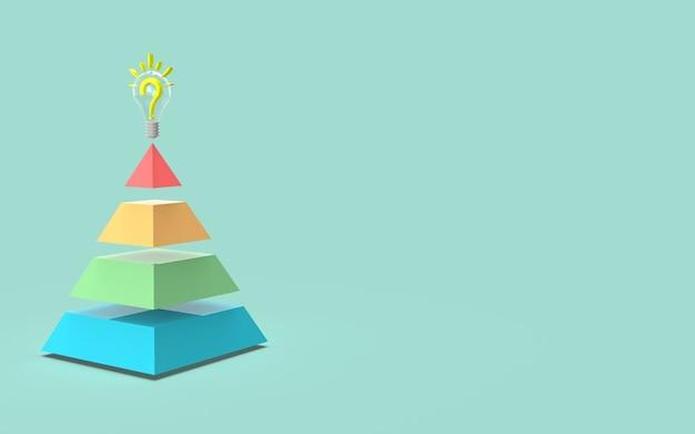 Ideia de gráfico de barras de marketing digital de mídia social conceito de pirâmide renderização em 3d