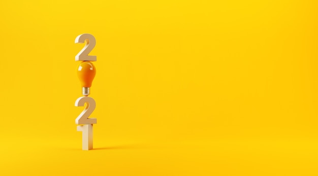 Ideia de lâmpada com 2021 ano novo em amarelo.