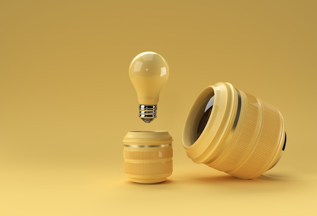 Idéia de lente de câmera realista para renderização 3d perfect shoot.