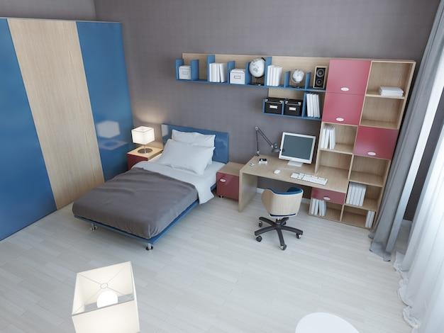 Idéia de quarto infantil moderno com móveis multicoloridos nas cores azul e vermelho e cama de solteiro e área de trabalho e grande armário.