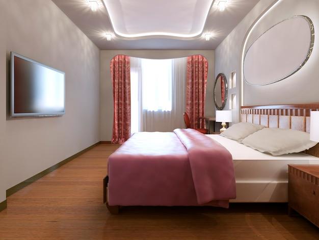 Ideia de quarto principal eclético com paredes brancas e piso de madeira média