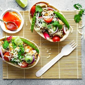 Ideia de receita de comida de barcos tex mex taco caseiros