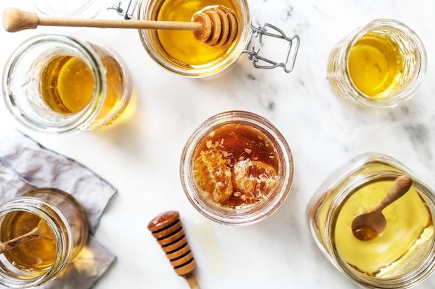 Ideia de receita de fotografia de comida de mel orgânico
