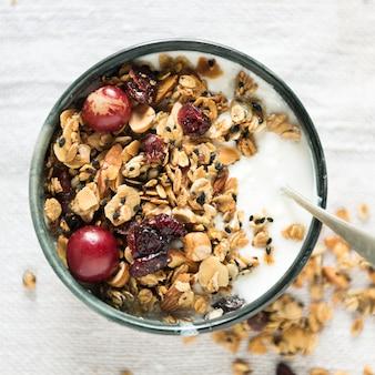 Idéia de receita de fotografia de comida granola saudável