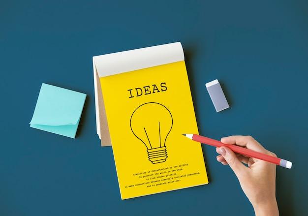 Ideia de sinal de lâmpada símbolo palavra