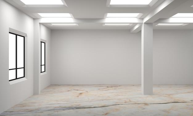 Ideia de um interior escandinavo vazio branco da sala. interior do fundo. casa nórdica interior. ilustração 3d