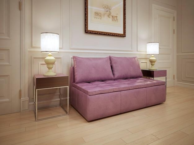 Ideia de um salão moderno com sofá rosa suave e almofadas no corredor.