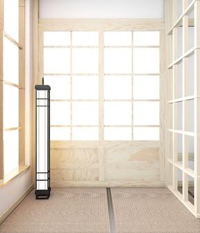 Ideia do assoalho mínimo japonês original de madeira do quarto e do tatami da esteira vazia. renderização em 3d