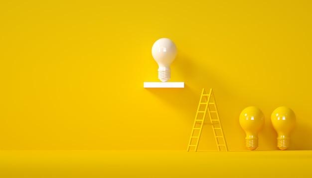 Idéia mínima design conceito lâmpada branca bem sucedida sobre fundo amarelo pastel
