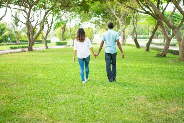 Ideia traseira dos pares multi-étnicos que andam guardando as mãos no parque.