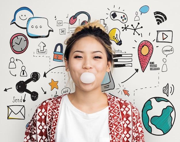 Ideias criativas, imaginação, inspiração, conceito moderno