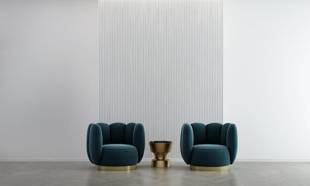 Idéias de decoração viva e móveis aconchegantes simulam design de interiores e fundo de textura de parede branca