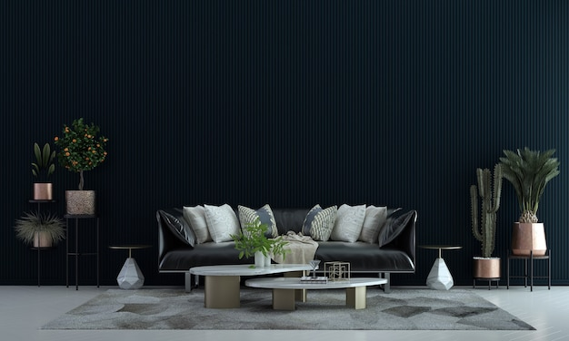 Idéias de decoração viva e móveis aconchegantes simulam design de interiores e fundo de textura de parede vazia
