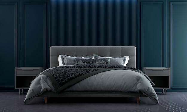 Idéias de decoração viva e móveis de quarto simulados de design de interiores e fundo de textura de parede azul