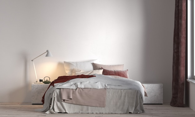 Idéias de decoração viva e móveis de quarto simulados de design de interiores e fundo de textura de parede branca