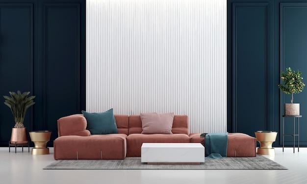 Idéias de decoração viva e móveis simulados de design de interiores e fundo de textura de parede vazia