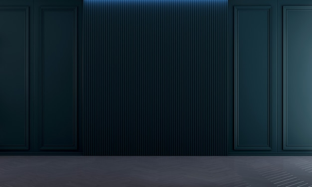 Idéias de decoração viva e simulação de móveis de design de interiores e fundo de textura de parede azul