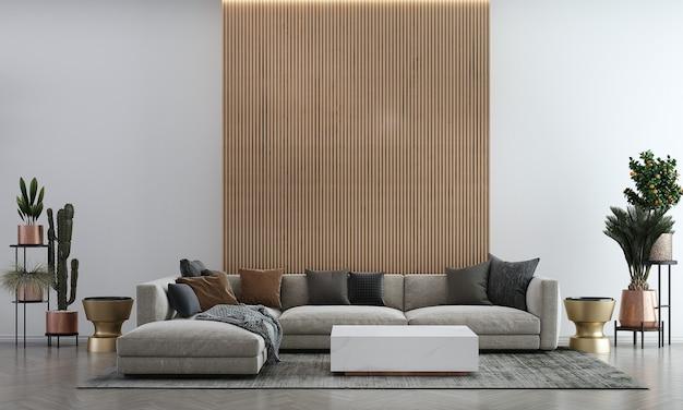 Idéias de decoração viva e simulação de móveis de design de interiores e fundo de textura de parede vazia de madeira