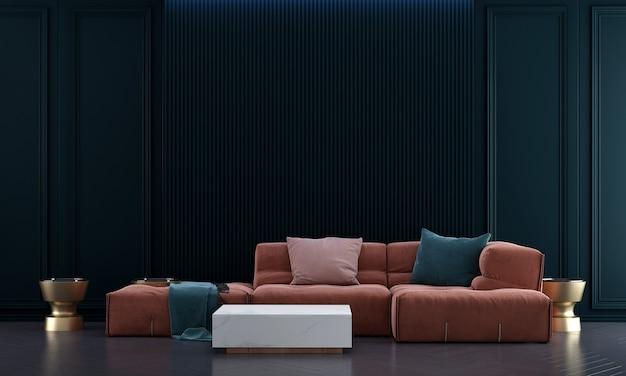 Idéias de decoração viva e simulação de móveis de design de interiores e fundo de textura de parede vazia em azul