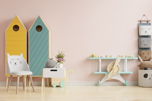 Ideias de design de quarto infantil escandinavo em fundo de parede de cor rosa claro. renderização 3d