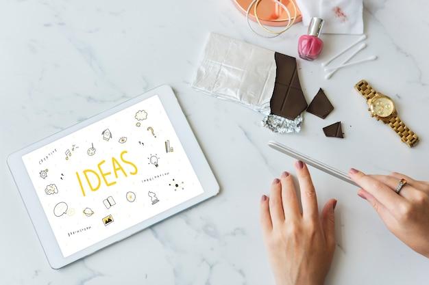 Idéias, estratégia, ação, design, visão, plano, conceito