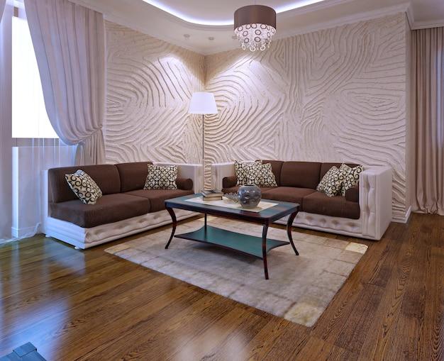 Idéias para sala de estar com sofá de couro em estilo art déco. renderização 3d
