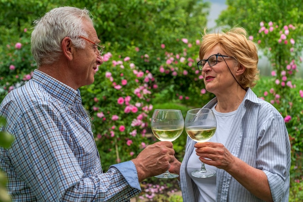 Idoso e senhora segurando taças tilintando e bebem vinho riso amigável na comunicação
