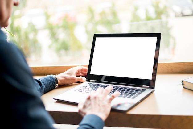 Idoso, homem negócios, com, laptop