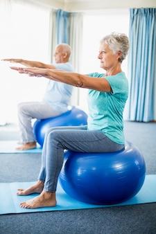 Idosos usando bola de exercício