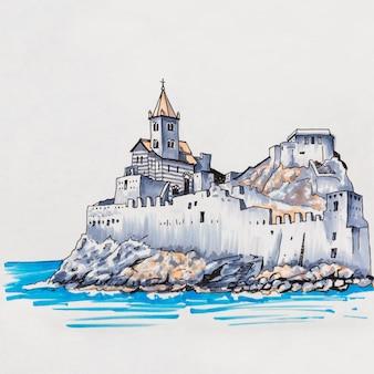 Igreja gótica de são pedro em porto venere, la spezia, liguria, itália. marcadores feitos de imagem