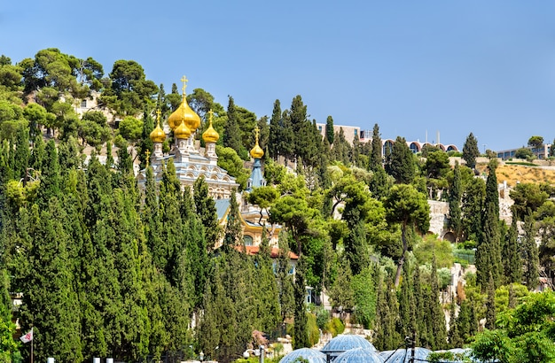 Igreja ortodoxa russa de maria madalena no monte das oliveiras em jerusalém, israel