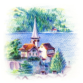 Igreja spiez no lago thun em spiez, suíça desenhando com lápis de cor