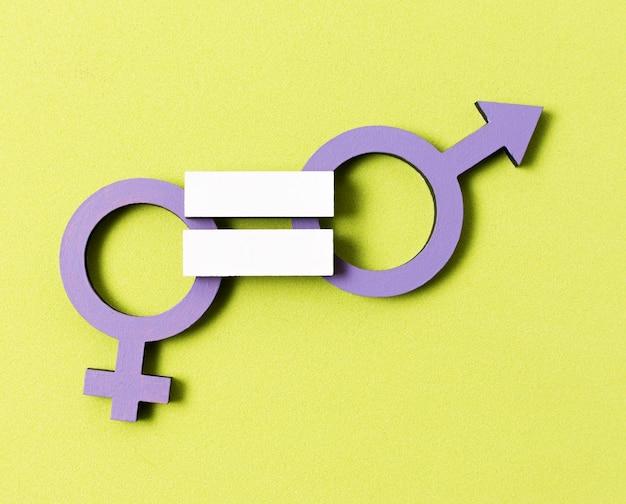 Igualdade entre close de símbolos de gênero de homem e mulher