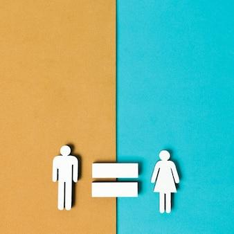 Igualdade entre homem e mulher fundo colorido