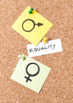 Igualdade homem e mulher símbolos vista superior