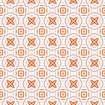 Ikat repetindo design de trajes de banho. design laranja surpreendente boho chique. impressão impressionante pronta para têxteis, tecido de biquíni, papel de parede, embrulho. aquarela ikat repetindo a borda da telha.