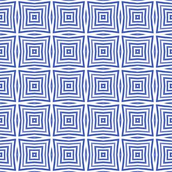 Ikat repetindo design de trajes de banho. fundo de caleidoscópio simétrico índigo. padrão de trajes de banho de ikat de verão. têxtil pronto para impressão divina, tecido de biquíni, papel de parede, embrulho.