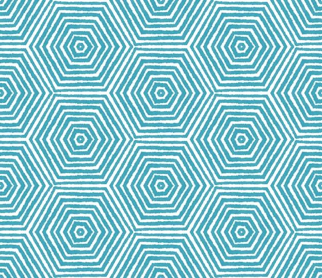 Ikat repetindo design de trajes de banho. fundo de caleidoscópio simétrico turquesa. padrão de trajes de banho de ikat de verão. estampado atordoante pronto para têxteis, tecido de biquíni, papel de parede, embrulho.