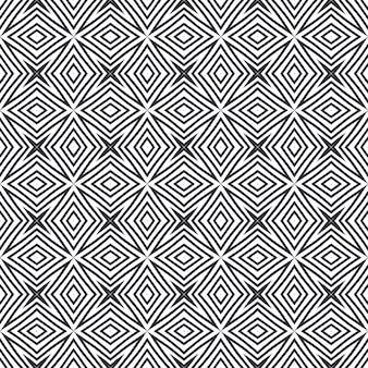 Ikat repetindo design de trajes de banho. fundo preto caleidoscópio simétrico. têxtil pronto para negrito, tecido de biquíni, papel de parede, embalagem. padrão de trajes de banho de ikat de verão.