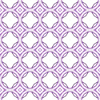 Ikat repetindo design de trajes de banho. projeto chique de verão boho deslumbrante roxo. impressão sublime pronta para têxteis, tecido de biquíni, papel de parede, embrulho. aquarela ikat repetindo a borda da telha.
