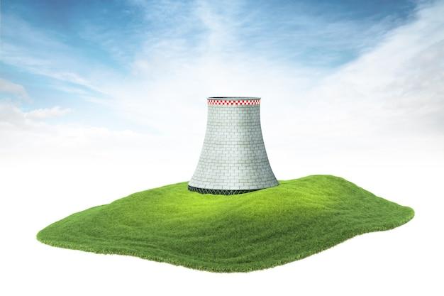 Ilha com torre de resfriamento de usina nuclear flutuando no ar