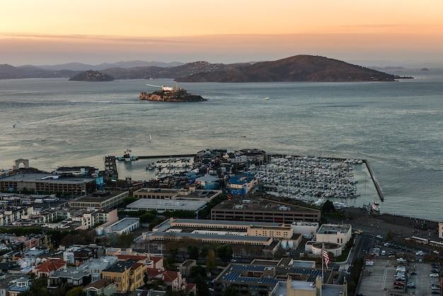 Ilha da prisão de alcatraz, marco famaous de san francisco