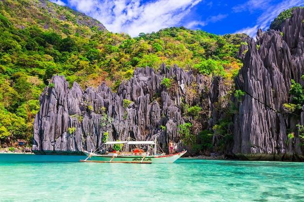 Ilha de el nido pulando. bela natureza e praias da ilha de palawan. filipinas