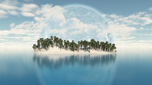 Ilha de palmeiras com um planeta atrás dela no céu
