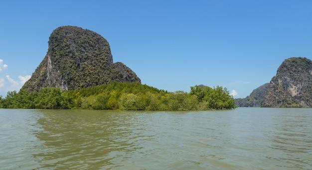 Ilha de pedra calcária com floresta de mangue no parque nacional da baía de phang nga, tailândia